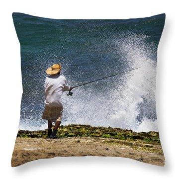 Man Versus The Sea Throw Pillow by Mike  Dawson