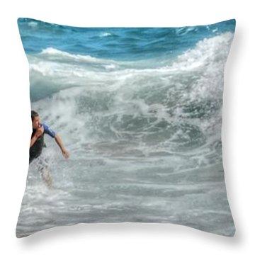 Man Vs Wave Throw Pillow