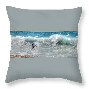 Man Vs Wave Throw Pillow
