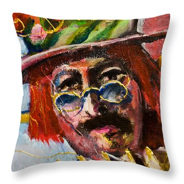 Man With Accordion-detail From Three Red Musicians Throw Pillow