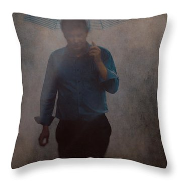 Man With An Umbrella Throw Pillow