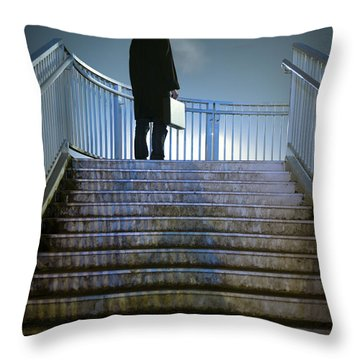 Throw Pillow featuring the photograph Man With Case At Night On Stairs by Lee Avison
