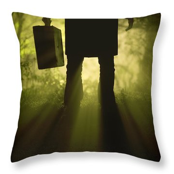 Throw Pillow featuring the photograph Man With Case In Fog by Lee Avison