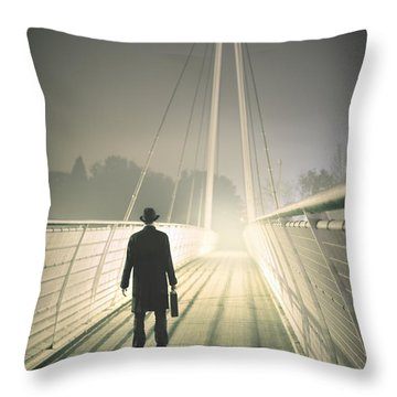 Throw Pillow featuring the photograph Man With Case On Bridge by Lee Avison