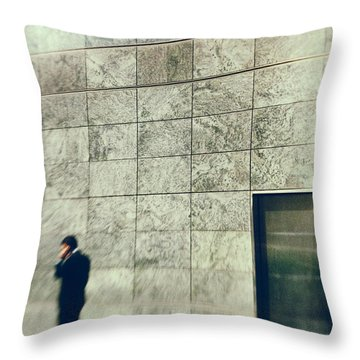 Throw Pillow featuring the photograph Man With Cell Phone by Silvia Ganora