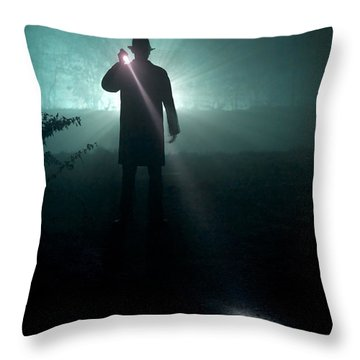 Throw Pillow featuring the photograph Man With Flashlight  by Lee Avison