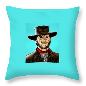 Throw Pillow featuring the mixed media Clint Eastwood by Salman Ravish
