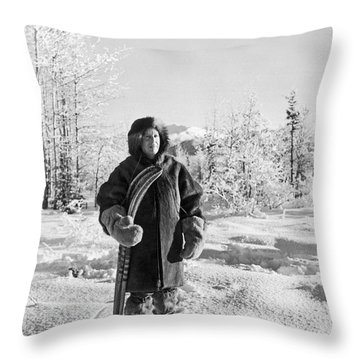 Man With Parka And Snowshoes Throw Pillow