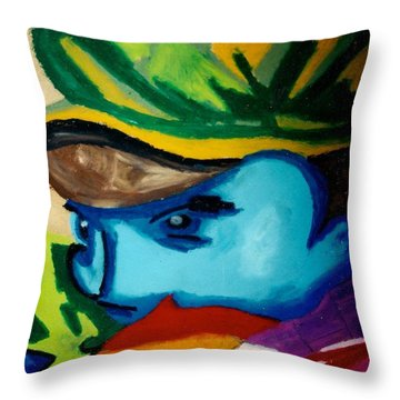 Man With Scarf Throw Pillow