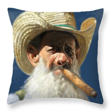 Man With The Cigar Throw Pillow