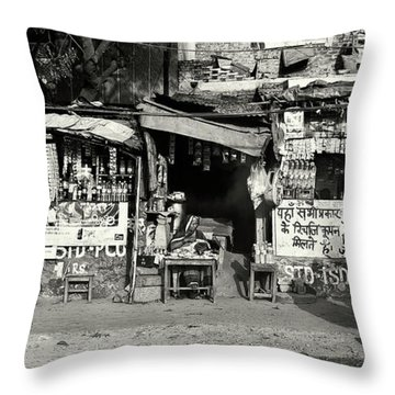 Man Woman And Schoolgirls Throw Pillow