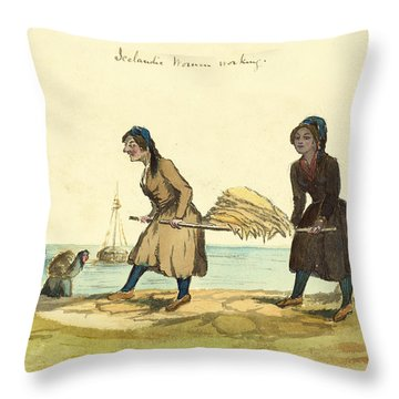 Man Working And Icelandic Women Working Circa 1862 Throw Pillow by Aged Pixel