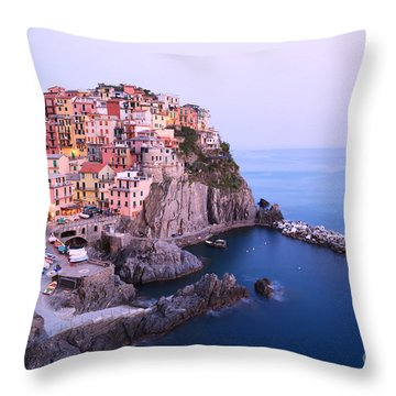 Manarola At Dusk In The Cinque Terre Italy Throw Pillow