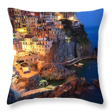 Manarola At Night In The Cinque Terre Italy Throw Pillow