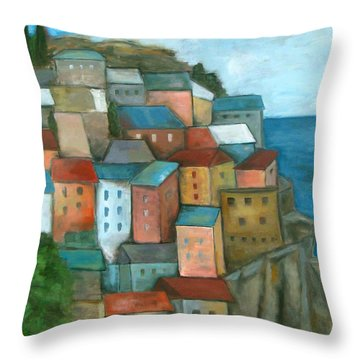 Manarola Cinque Terre Throw Pillow by Trish Toro