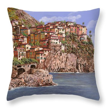 Manarola   Throw Pillow by Guido Borelli