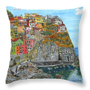 Manarola In Cinque Terra Throw Pillow