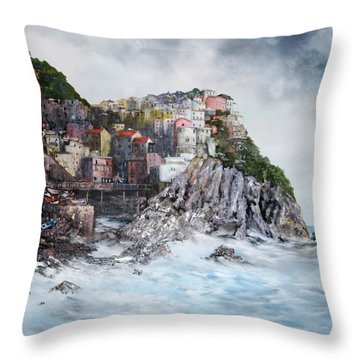 Throw Pillow featuring the painting Manarola Italy by Jean Walker