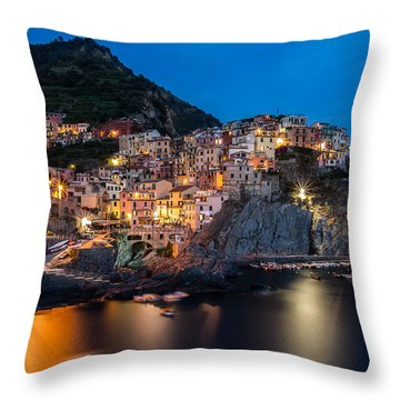 Throw Pillow featuring the photograph Manarola by Mihai Andritoiu