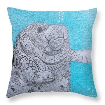 Manatee Close Encounter Throw Pillow