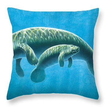 Manatee Throw Pillow by JQ Licensing