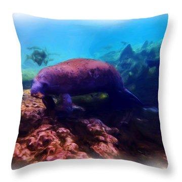 Manatee Reflection 1 Throw Pillow