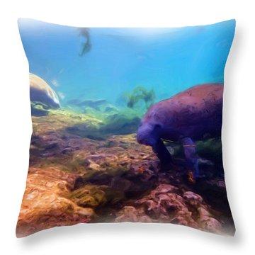 Manatees Feeding 2 Throw Pillow