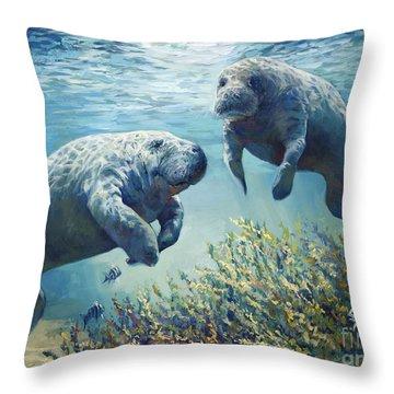 Manatee's Throw Pillow