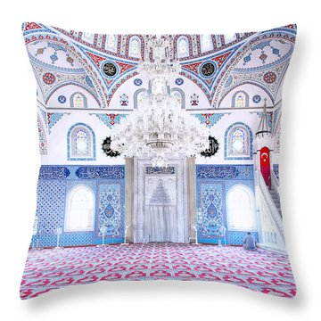 Manavgat Mosque Interior 01 Throw Pillow by Antony McAulay