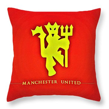 Manchester United Football Club Poster Throw Pillow