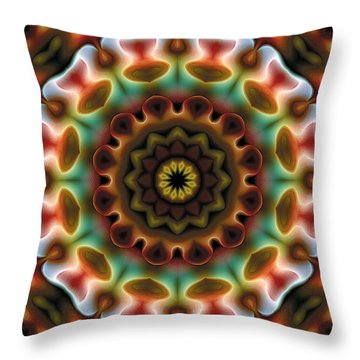 Throw Pillow featuring the digital art Mandala 74 by Terry Reynoldson