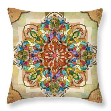 Mandala Birds Sp Throw Pillow by Bedros Awak