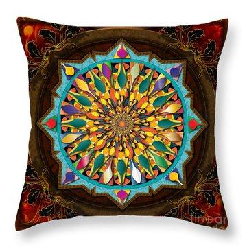 Mandala Droplets Throw Pillow by Bedros Awak