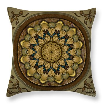 Mandala Earth Shell Sp Throw Pillow by Bedros Awak