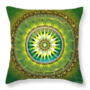 Mandala Green Sp Throw Pillow by Bedros Awak
