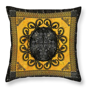 Mandala Obsidian Cross Throw Pillow by Bedros Awak