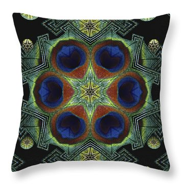 Throw Pillow featuring the digital art Mandala Peacock  by Nancy Griswold