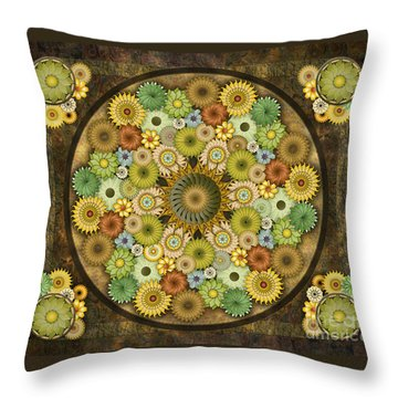 Mandala Stone Flowers Sp Throw Pillow