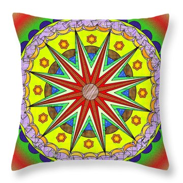Throw Pillow featuring the painting Mandala Sun by Mario Carini