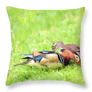 Mandarin Duck Couple Throw Pillow