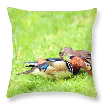 Mandarin Duck Couple Throw Pillow