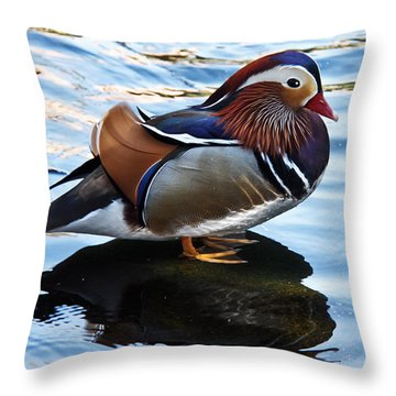 Mandarin Duck Throw Pillow by Robert Bales