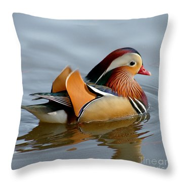 Throw Pillow featuring the photograph Mandarin Duck Swimming by Bob and Jan Shriner