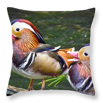 Mandarin Ducks Throw Pillow by Eve Spring