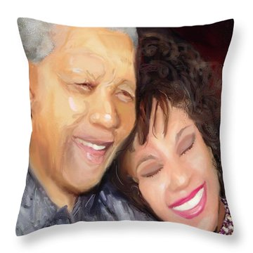 Throw Pillow featuring the painting Mandela And Whitney by Vannetta Ferguson