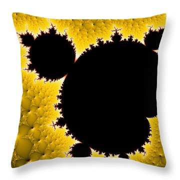 Mandelbrot Set Black And Yellow Fractal Art Throw Pillow