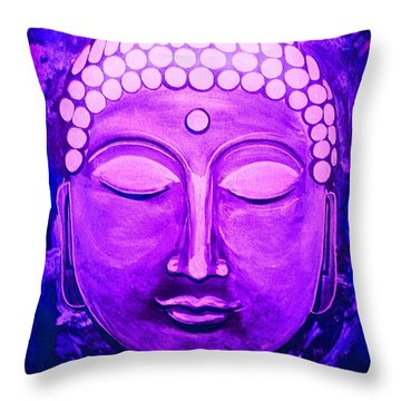 Throw Pillow featuring the painting Mandi's Buddha by Michelle Dallocchio