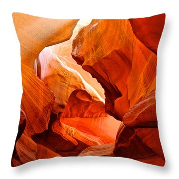 Manger Scene In Lower Antelope Canyon-az Throw Pillow by Ruth Hager