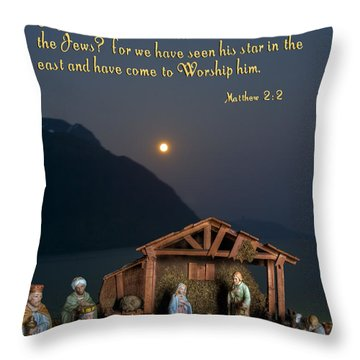 Throw Pillow featuring the photograph Manger Scene by Photography by Laura Lee