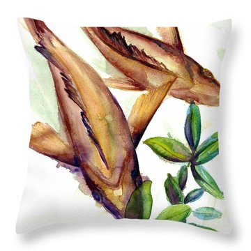 Throw Pillow featuring the painting Mangrove Snapper II by Ashley Kujan